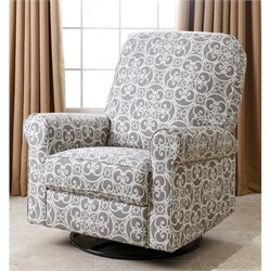 Abbyson Living Sydney Fabric Swivel Glider Recliner Chair in Gray