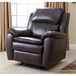 Abbyson Living Harbor Leather Rocker Recliner Chair in Dark Brown