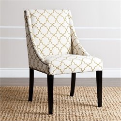 Abbyson Living Teena Nailhead Upholstered Dining Chair in Mahogany