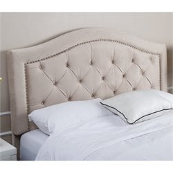 Abbyson Living Ternton Tufted Velvet Full Queen Headboard in Ivory
