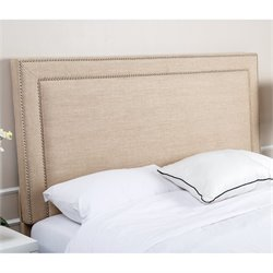 Abbyson Living Cora Linen Upholstered Full Queen Headboard in Wheat