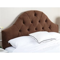 Abbyson Living Kamden Tufted Velvet Full Queen Headboard in Brown