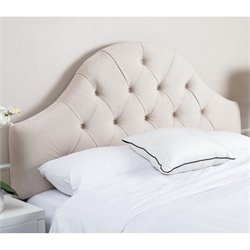 Abbyson Living Kamden Tufted Velvet Full Queen Headboard in Ivory