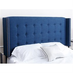 Abbyson Living Tafton Tufted Linen Full Queen Headboard in Blue