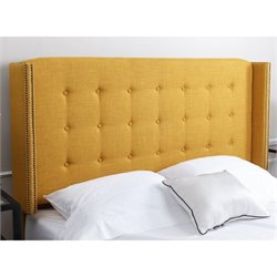Abbyson Living Tafton Tufted Linen Full Queen Headboard in Yellow