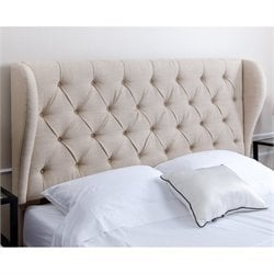 Abbyson Living Tafton Tufted Linen Full Queen Headboard in Wheat