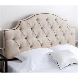 Abbyson Living Hamnden Tufted Linen Full Queen Headboard in Wheat