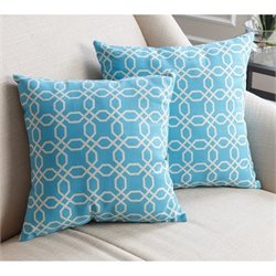 Abbyson Living Cotton Linen Square Pillow in Blue Pattern (Set of 2)