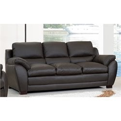 Abbyson Living Livington Leather Sofa in Espresso