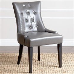 Abbyson Living Maverick Upholstered Leather Dining Chair in Gray