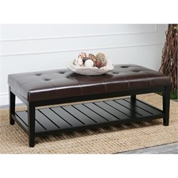 Abbyson Living Adams Coffee Table Ottoman in Espresso