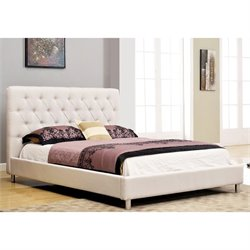Abbyson Living Newton Linen Upholstered Full Panel Bed in Ivory