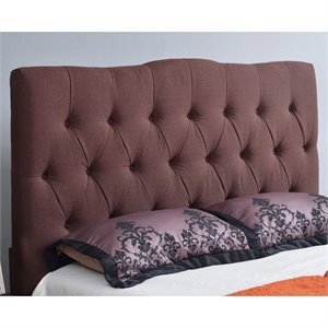 Abbyson Living Hampton Linen Headboard in Chocolate