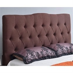 Abbyson Living Hampton Linen Upholstered Full Headboard in Chocolate