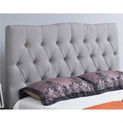 Abbyson Living Hampton Linen Upholstered Full Headboard in Gray