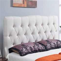 Abbyson Living Hampton Linen Upholstered Full Headboard in Ivory