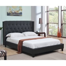 Abbyson Living Maybek Linen Upholstered Full Panel Bed in Charcoal