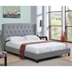 Abbyson Living Maybek Linen Upholstered Full Panel Bed in Gray