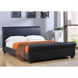 Abbyson Living Tamma Faux Leather Full Sleigh Bed in Black