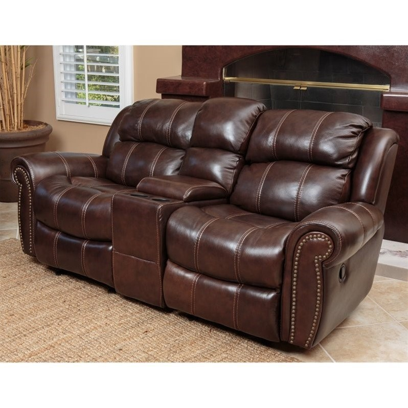 Abbyson Living Kingston Leather Reclining Loveseat In