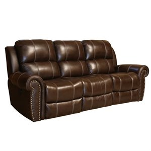 Abbyson Living Kingston Leather Power Reclining Sofa in Brown