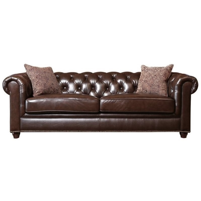 Abbyson Alexandra Leather Sofa In Brown