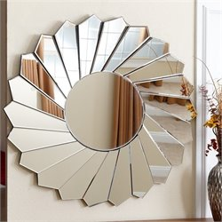 Abbyson Living Kara Round Accent Wall Mirror in Silver