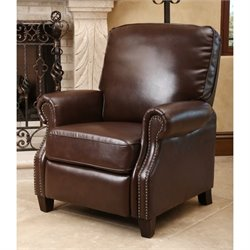 Abbyson Living Clarkton Leather Pushback Recliner in Brown