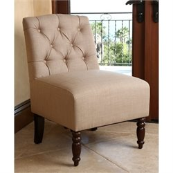 Abbyson Living Lana Tufted Linen Slipper Chair in Beige