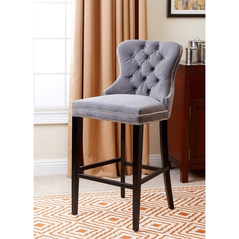 Abbyson Blaise 30 Quot Tufted Upholstered Bar Stool In Gray