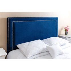 Abbyson Living Shiloh Queen Full Nail Head Trim Headboard in Navy Blue