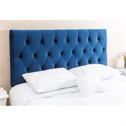 Abbyson Living Dakota Queen Full Tufted Headboard in Navy Blue