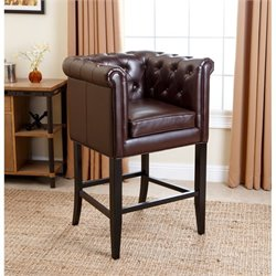 Abbyson Living Salvatore Leather Bar Stool in Dark Brown