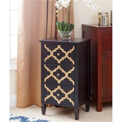 Abbyson Living Autumn 3 Drawer End Table in Black and Gold