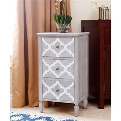 Abbyson Living Autumn 3 Drawer End Table in Gray and White