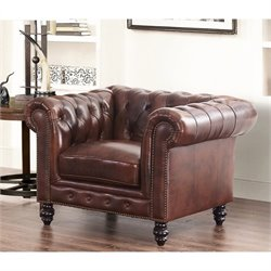 Abbyson Living Leather Accent Chair in Brown