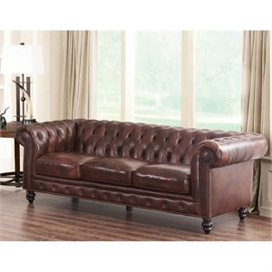Abbyson Living Leather Sofa in Brown