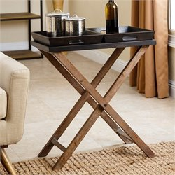 Abbyson Living 2 Tray End Table in Espresso Black