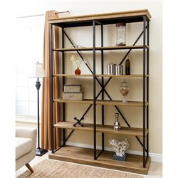 Abbyson Living Industrial 5 Shelf Double Bookcase in Natural