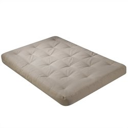 Wolf USF-8110 8 Inch Futon Mattress with 2 - 1 Inch Foam in Khaki - Full