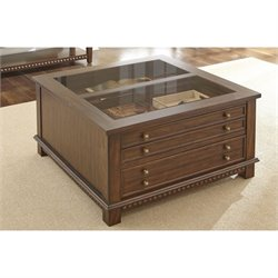 Steve Silver Livonia Glass Top Coffee Table with Drawers in Brown