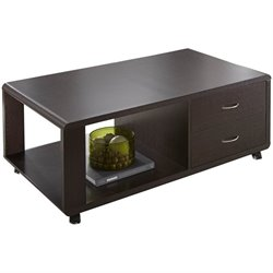 Steve Silver Ella Coffee Table with Drawers and Wheels in Espresso