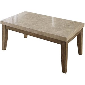 Steve Silver Franco Marble Top Rectangular Coffee Table in White