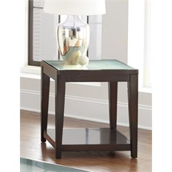 Steve Silver Arden Square Glass Top End Table in Ebony