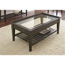 Steve Silver Bridget Glass Top Coffee Table in Ebony