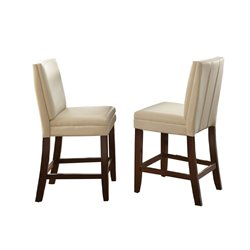 Steve Silver Bennett Vinyl Counter Stool in White (Set of 2)