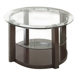 Steve Silver Cerchio Round Glass Top Coffee Table in Espresso