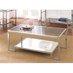 Steve Silver Churchill Glass Top Coffee Table in Chrome