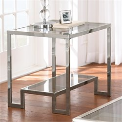 Steve Silver Churchill Glass Top End Table in Chrome