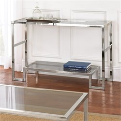 Steve Silver Churchill Glass Top Console Table in Chrome